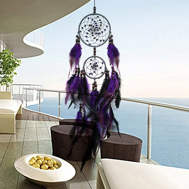 Handmade Purple Dreamcatcher Net With Feather Beads