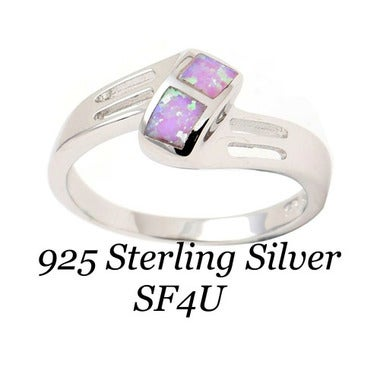 Solid 925 Sterling Silver W/ Pink Lab-Opal Ring