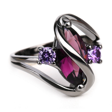 3 Carats Genuine Amethyst Marquise Cut and Black Titanium Ring