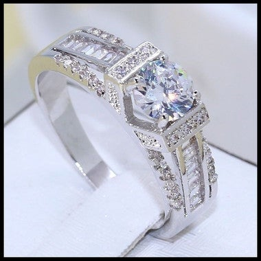 Luxury Jewelry 10KT White Gold Filled 3CT Clear 5A CZ Zirconia Wedding Women Ban
