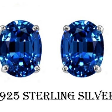2.00 CTTW .925 Sterling Silver Genuine Oval 7x5 Lab Created Sapphire Stud Earing