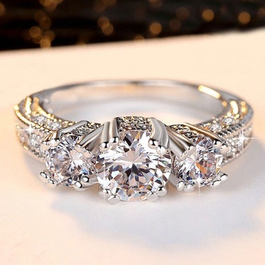 Womens Vintage White Gold Filled Cz Round Ring A69