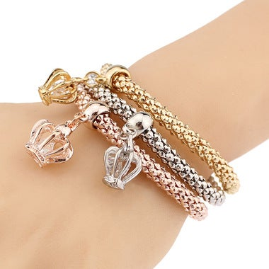 Alloy three - color suit stretch popcorn corn chain crown pendant bracelet femal