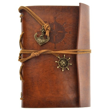 Retro Vintage Pirate Anchor PU Cover Loose-leaf String Bound Blank Notebook Note