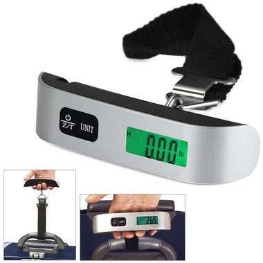 Portable Mini LCD Luggage Electronic Scale Thermometer 50kg Capacity Hanging Dig