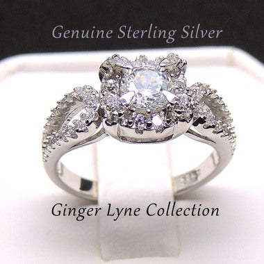 Carlita Sterling Silver Engagement Ring AAA Quality CZ - Ginger Lyne Collection