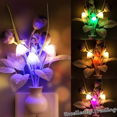 Flowers Mushroom Bedroom Decor Light Sensation LED Night Light Bed Lamp Night La