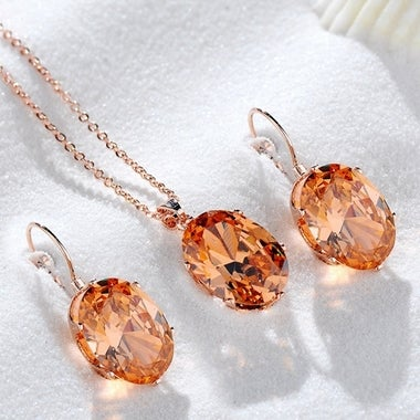 Zircon Jewelry Sets Oval Shape Pendant Necklace Stud Earrings Set