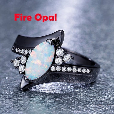 Luxury black gold filled oval fire opal ring for women