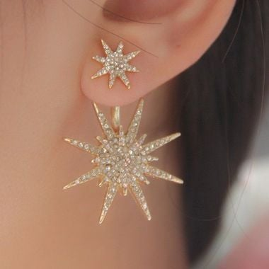 Lady Stunning Crystal Rhinestone Dangle Gold Plated Earrings star ear stud