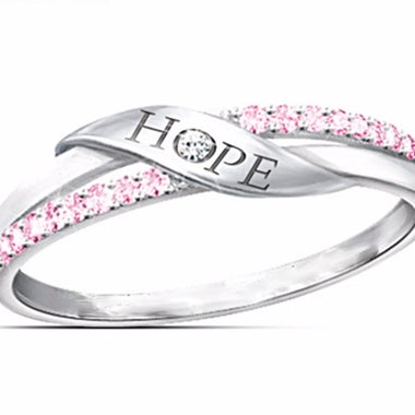 Pave CZ Hope Women Statement Ring #014