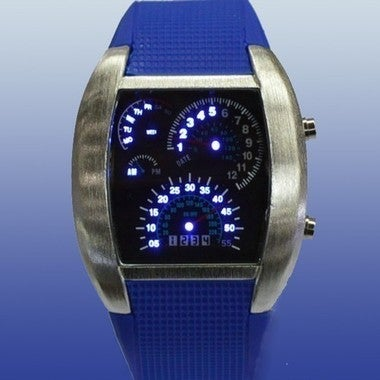 Fashion Aviation Turbo Dial Flash LED Watch