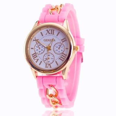 Fashion Luxury Women Lady Quartz Roma Silicone Chain Band Watch A16510_3