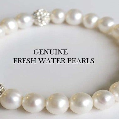 Amazing Genuine Pearl Stretch Bracelets W/Austrian Crystal Ball