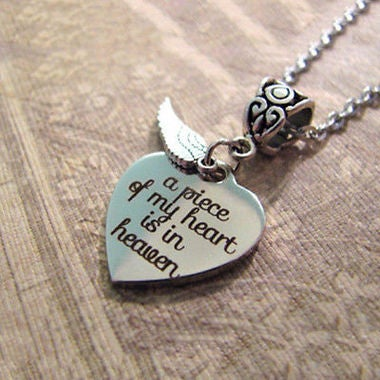 2017 Hot Bid A Piece Of My Heart Is In Heaven - Christian MEMORIAL NECKLACE