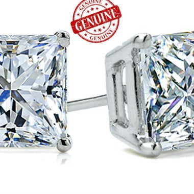 Genuine 14K White Gold 1.5 ct Princess Cut Solitaire Stud Earrings