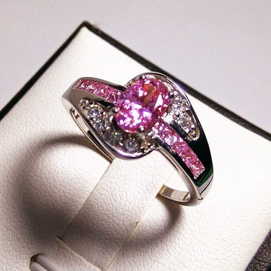 Women Halo Wedding 039 B Pink Ring