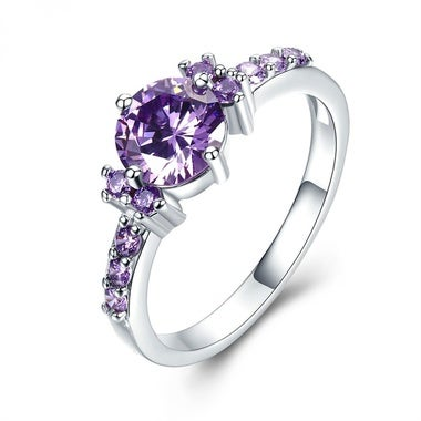 MDEAN Sterling Silver Purple Amethyst Ring CZ Diamond Engagement Size 5 6 7 8 9