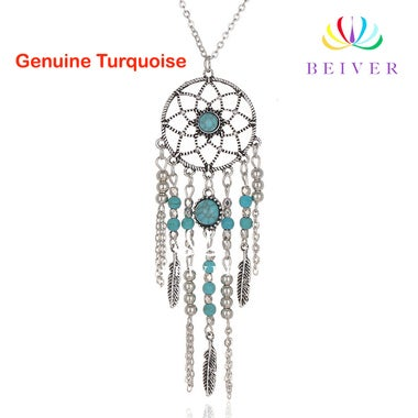 Luxury Turquoise sweater necklace with tassel feathers White Gold Filled Engagem