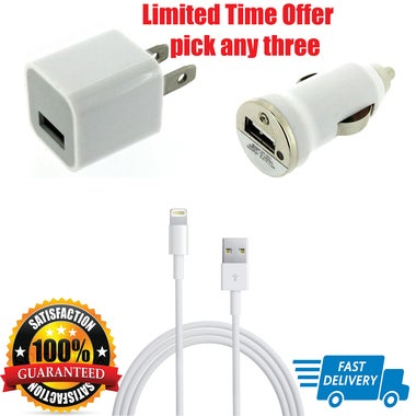 New Apple Lightning Cable USB Cable Charger iPhone 7 6S Plus 5 C SE Car Charger