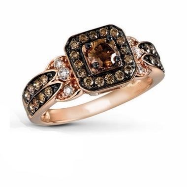 Double Halo Round Cut Chocolate CZ ring #954