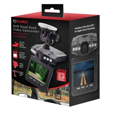 Aduro DVR Video / Audio Dash Cam w/ Infrared Night Vision LED's, 2.4 LCD Screen,