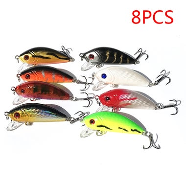 8pcs 8cm 7.5g Hard Bait Fishing Lures with Hook Bass Fishing Gear