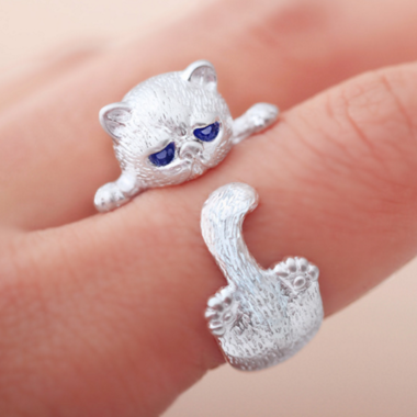 Fashion cat 925 silver opening ring