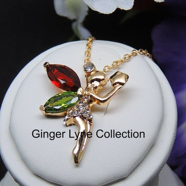 Beautiful Fairy Green and Red CZ Pendant Chain Necklace - Ginger Lyne Collection