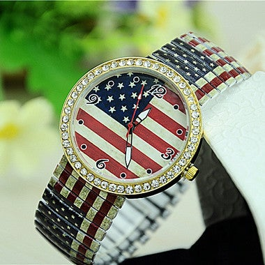 American flag fashion section of the series pull belt flower watch
