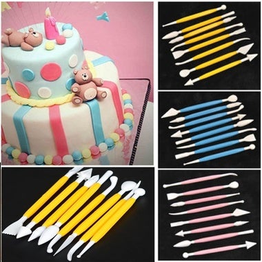 8Pcs 16 Patterns Fondant Cake Decorating Flower Sugar Craft Modelling Tools Clay