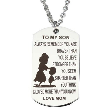 To My Son Stainless Steel Necklace Mother and Son Necklace Dog Tag Pendant Neck