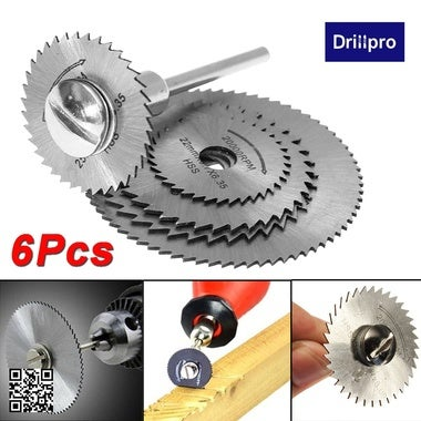 Drillpro 6pc HSS Saw Blades For Metal Dremel Rotary Tool Cutting Discs Wheel + 1