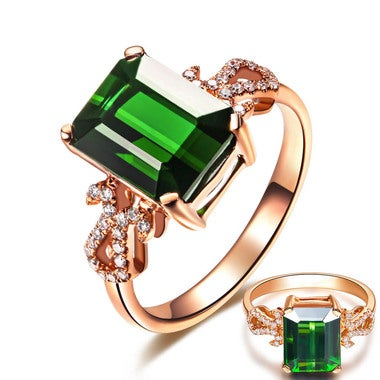 Luxury&Classic 3.9ct Created Emerald Wedding Engagement Ring For Women Fine Jewe