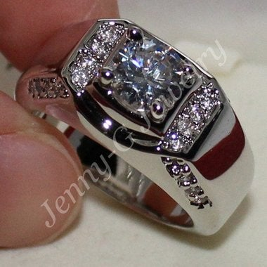 Jewelry White Men 2CT Wedding Ring