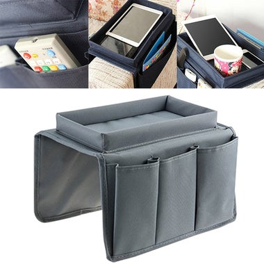 Arm Rest Organiser Armchair Tray Storage TV Sofa Case Box Tidy Cup Book Remote