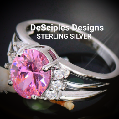 Pink And White Topaz Ring Sterling Silver Band