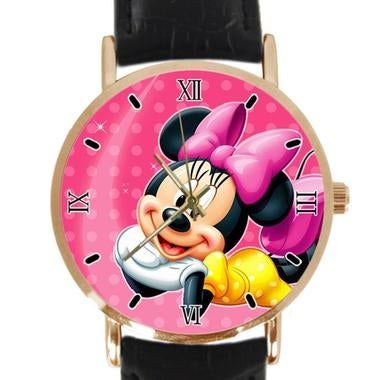 Cute Pink Mickey Mouse Custom Classic Leather Strap Wrist Quatrz Watch
