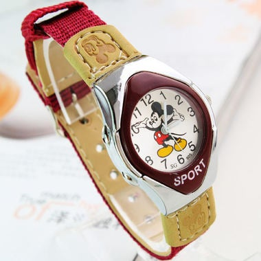 Fashion Mickey Fabric Strap Catoon Watches For Girl Boy Student Girl Good Quaity
