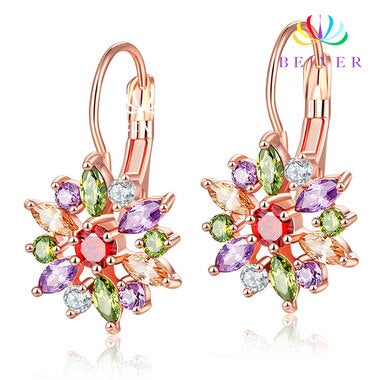 Luxury Oval Cut AAAAA CZ Sunflower Wedding Earring Rose Gold color Engagement Je