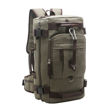 Travables Vintage Canvas Leather Multipurpose Hiking Rucksack Backpack
