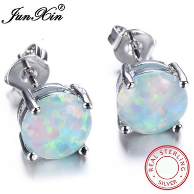 Junxin Cute 925 Sterling Silver Round Cut White/Blue Fire Opal Stud Earrings Wed