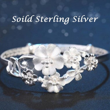 Women Sterling Silver Scrub flowers hollow Bracelet