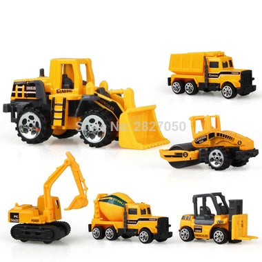 6 Styles mini Diecast Alloy Construction Vehicle Engineering Car Dump-car Dump T