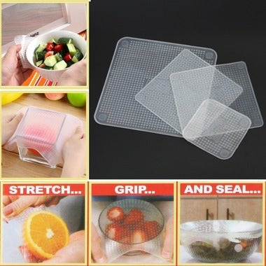 New 4pcs Multifunctional Food Fresh Keeping Wrap Kitchen Tools Reusable Silicone