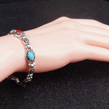 Women Wintage Shiny Bracelet Hand Snake Chain Catenary Crystal Opals Colorful