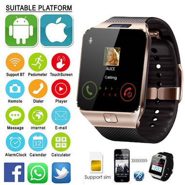 New Smartwatch Support UP to 32GB TF Card,Bluetooth Smart Camera GSM SIM/TF Phon