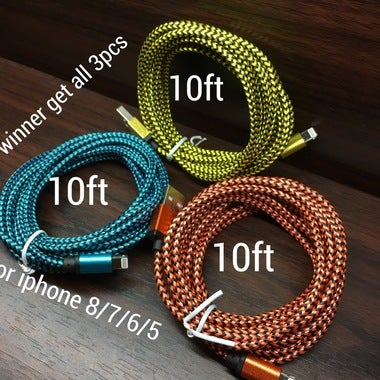 3pcs........10ft aluminum USB cable for iPhone 7/6/5/ipad/ipod....etc