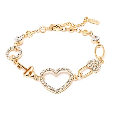 Gold Plated Gold and White Swarovski Elements Heart and Key Link Bracelet