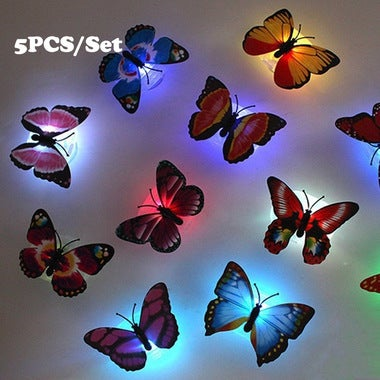 5PCS Fashion 7-Color Changing Cute Butterfly LED Night Light Home Room Desk Wall